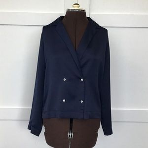 Topshop Navy Blue Blouse with Buttons